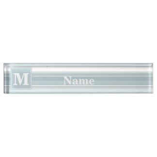 Ice blue stripes nameplate