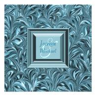 Ice Blue Teal Blue Wedding Invitations