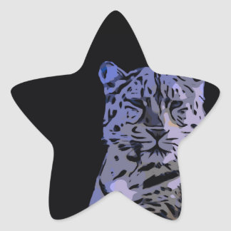 Ice Blue Tiger Abstract Star Sticker