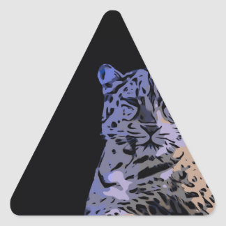 Ice Blue Tiger Abstract Triangle Sticker