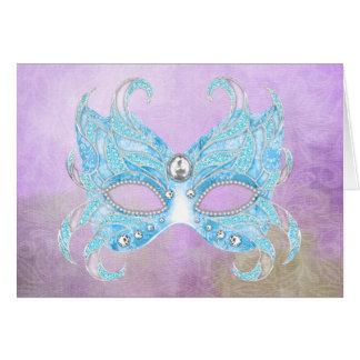 Ice blue Venetian mask Card