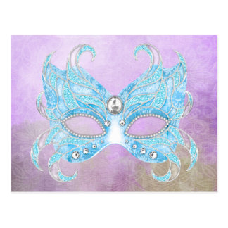 Ice blue Venetian mask Postcard