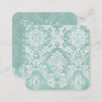 Ice Blue Vintage Damask Pattern 5 lines of contact Square Business Card
