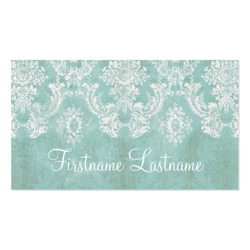 Ice Blue Vintage Damask Pattern Extra Line of Text Business Card Template