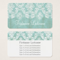 Ice Blue Vintage Damask Pattern Extra Line of Text Business Card