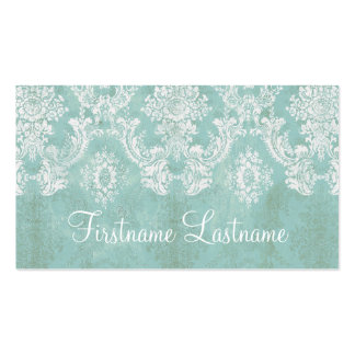 Ice Blue Vintage Damask Pattern Extra Line of Text Double-Sided Standard Business Cards (Pack Of 100)