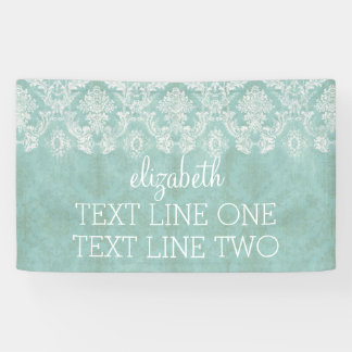 Ice Blue Vintage Damask Pattern - Grungy Finish Banner