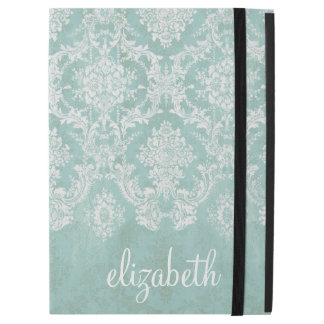Ice Blue Vintage Damask Pattern - Grungy Finish iPad Pro Case