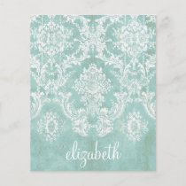 Ice Blue Vintage Damask Pattern with Grungy Finish