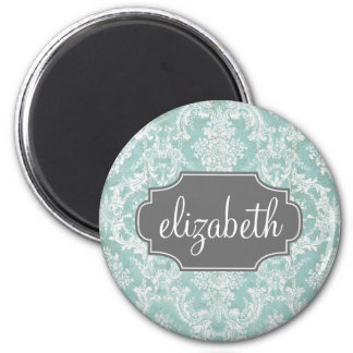 Ice Blue Vintage Damask Pattern with Grungy Finish 2 Inch Round Magnet