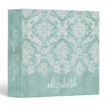 Ice Blue Vintage Damask Pattern with Grungy Finish 3 Ring Binder