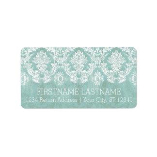 Ice Blue Vintage Damask Pattern with Grungy Finish Address Label
