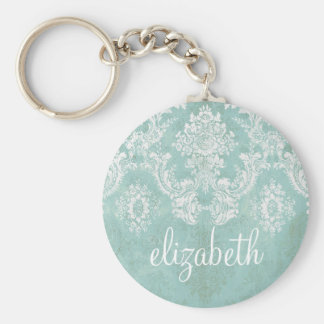 Ice Blue Vintage Damask Pattern with Grungy Finish Basic Round Button Keychain