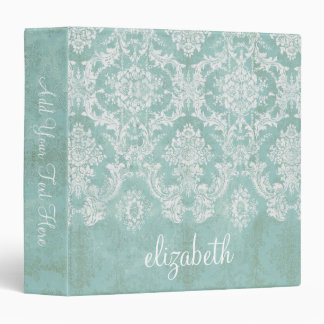 Ice Blue Vintage Damask Pattern with Grungy Finish Binders