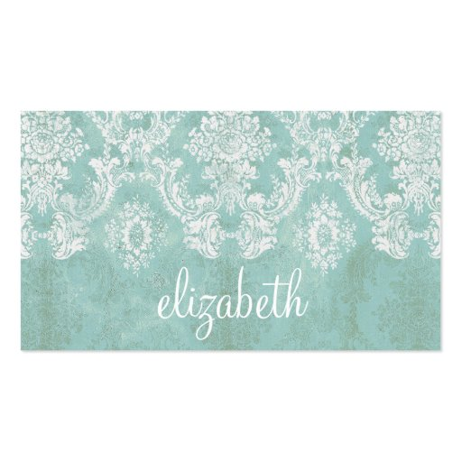 Ice Blue Vintage Damask Pattern with Grungy Finish Business Cards