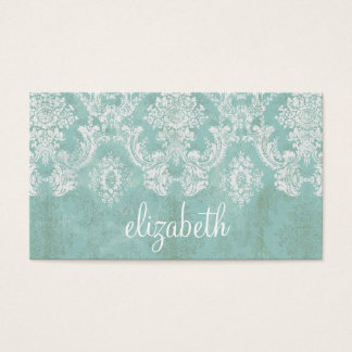 Ice Blue Vintage Damask Pattern with Grungy Finish Business Card