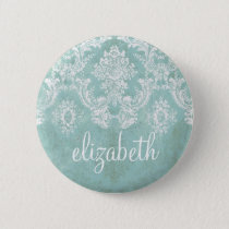 Ice Blue Vintage Damask Pattern with Grungy Finish Button