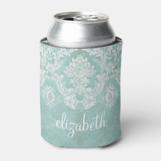Ice Blue Vintage Damask Pattern with Grungy Finish Can Cooler