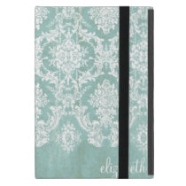Ice Blue Vintage Damask Pattern with Grungy Finish Case For iPad Mini
