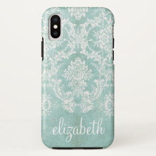 watch 1e27c a3ebe Ice Blue Vintage Damask Pattern with Grungy Finish iPhone XS Case