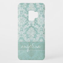 Ice Blue Vintage Damask Pattern with Grungy Finish Case-Mate Samsung Galaxy S9 Case