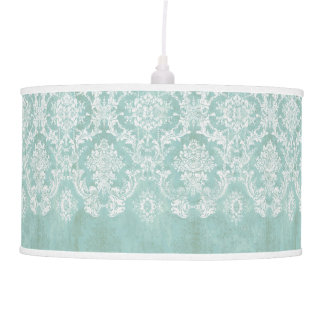 Ice Blue Vintage Damask Pattern with Grungy Finish Ceiling Lamp