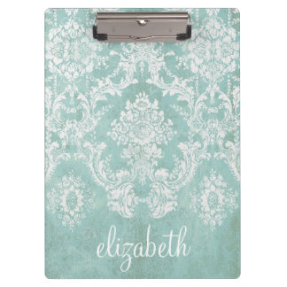 Ice Blue Vintage Damask Pattern with Grungy Finish Clipboards