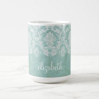 Ice Blue Vintage Damask Pattern with Grungy Finish Coffee Mug