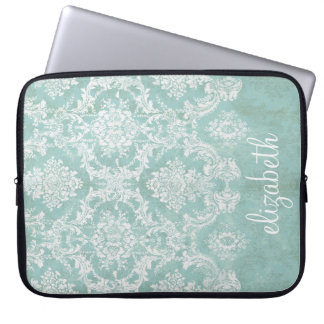 Ice Blue Vintage Damask Pattern with Grungy Finish Computer Sleeve