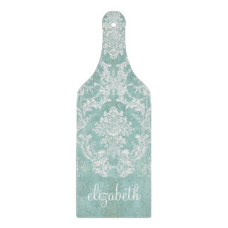 Ice Blue Vintage Damask Pattern with Grungy Finish Cutting Board