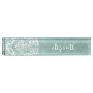 Ice Blue Vintage Damask Pattern with Grungy Finish Desk Nameplate