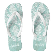Ice Blue Vintage Damask Pattern with Grungy Finish Flip Flops
