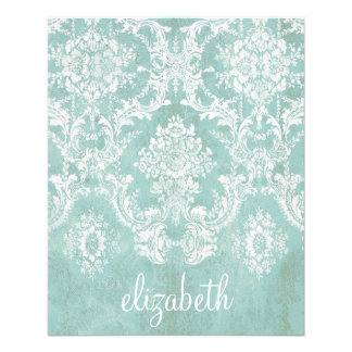 Ice Blue Vintage Damask Pattern with Grungy Finish Personalized Flyer