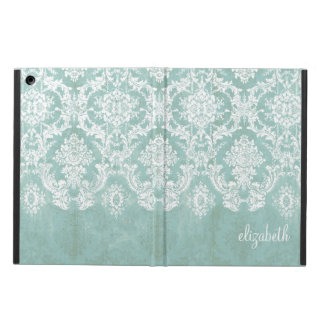 Ice Blue Vintage Damask Pattern with Grungy Finish iPad Air Cases