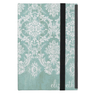 Ice Blue Vintage Damask Pattern with Grungy Finish Cases For iPad Mini
