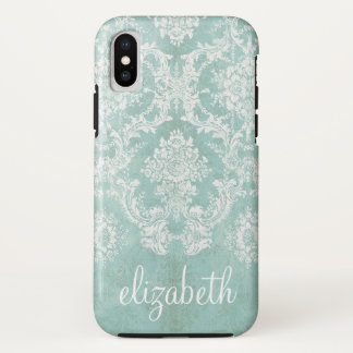 Ice Blue Vintage Damask Pattern with Grungy Finish iPhone X Case