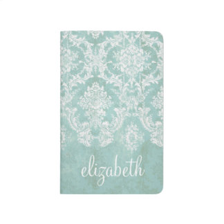 Ice Blue Vintage Damask Pattern with Grungy Finish Journal