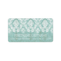 Ice Blue Vintage Damask Pattern with Grungy Finish Label