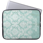 Ice Blue Vintage Damask Pattern with Grungy Finish Laptop Computer Sleeve