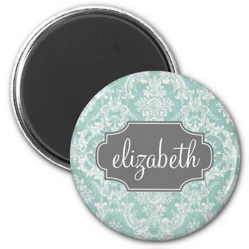 Ice Blue Vintage Damask Pattern with Grungy Finish Refrigerator Magnets