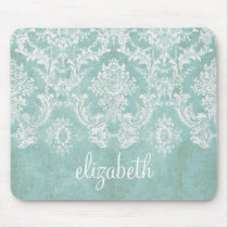 Ice Blue Vintage Damask Pattern with Grungy Finish Mouse Pad