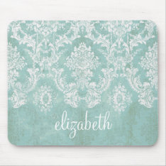 Ice Blue Vintage Damask Pattern With Grungy Finish Mouse Pad at Zazzle