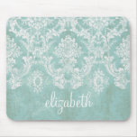 Ice Blue Vintage Damask Pattern with Grungy Finish Mouse Pads