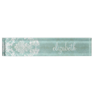 Ice Blue Vintage Damask Pattern with Grungy Finish Nameplate