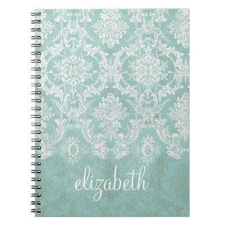 Ice Blue Vintage Damask Pattern with Grungy Finish Notebook
