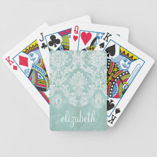 Ice Blue Vintage Damask Pattern with Grungy Finish Bicycle Playing Cards
