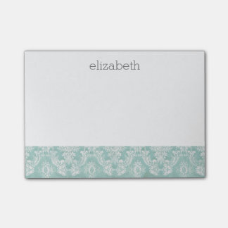 Ice Blue Vintage Damask Pattern with Grungy Finish Post-it® Notes