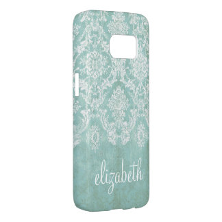 Ice Blue Vintage Damask Pattern with Grungy Finish Samsung Galaxy S7 Case