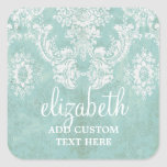 Ice Blue Vintage Damask Pattern with Grungy Finish Square Sticker