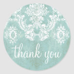 Ice Blue Vintage Damask Pattern with Grungy Finish Classic Round Sticker